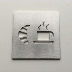 Stainless steel breakfast pictogram – 3,94 x 3,94 inches ( 100 x 100 mm ) or 5,91 x 5,91 inches ( 150 x 150 mm )