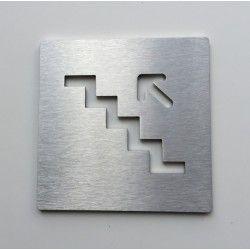 Pictogramme escalier inox monter gauche - 100x100 - Ep2