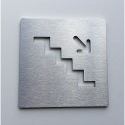 Pictogrammes descente d'escalier inox - 100x100 - Ep2 ou 4mm