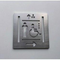 Pictogrammes ascenseur inox droit - 100x100