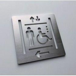 Pictogrammes ascenseur inox gauche - 100x100