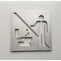 Stainless steel pictogram – Do not throw – 3,94 x 3,94 inches ( 100 x 100 mm ) or 5,91 x 5,91 inches ( 150 x 150 mm )