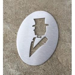 Retro Men's toilet pictogram – 4,72 inches ( 120 mm )