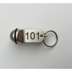 Ball keyring 1,97 inches (50 mm) x Ø 0,79 inch (20 mm) Nickel-plated metal – Laser etching
