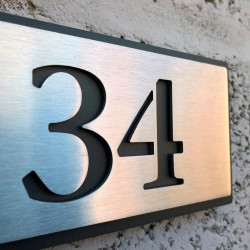 Stainless steel number plaques – 5,63X2,83 inches (143X72mm)– Head screws – Choice of numbers
