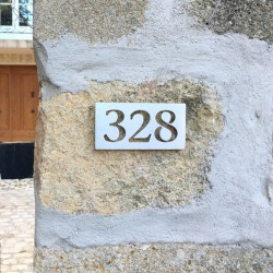 Stainless steel number plaque – 5,63 x 2,83 inches ( 143 x 72 mm ) - Choice of numbers