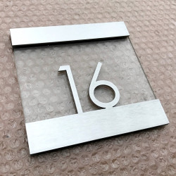 Brushed stainless steel and tempered-glass hotel room plaque