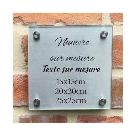 Plaque habitation inox-verre trempé 150 x 150