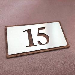Plaque numéro inox - 143x72 - Vis tête fraisées - Numéro au choix