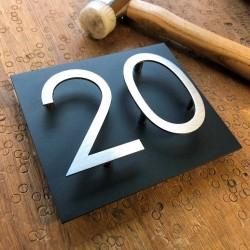 Design numéro assemblé - Inox brossé - Numéro au choix - Taille 5, 7 ou 10cm
